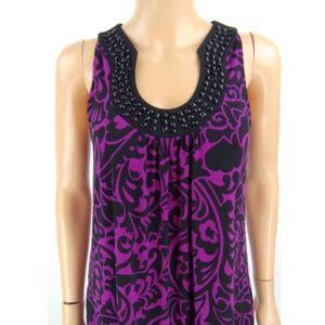 APT 9 Tunic Dress Purple Black Print Small
